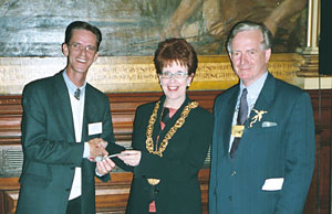 Michael Lalley presents the key to the city of Lowell to the Lord Provost